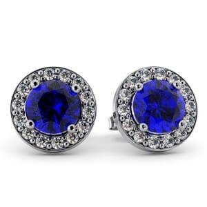 5535 - Round Sapphire Bezel Round Diamond Stud Earrings