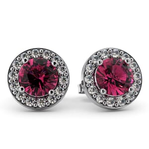 5541 - Round Tourmaline Bezel Round Diamond Stud Earrings