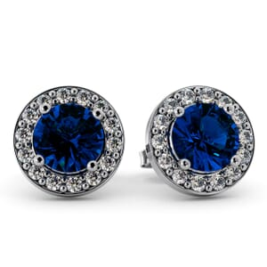 5547 - Round BlueTopaz Bezel Round Diamond Stud Earrings