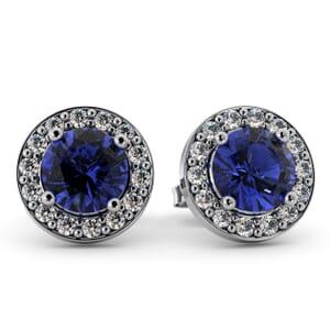 5553 - Round Tanzanite Bezel Round Diamond Stud Earrings