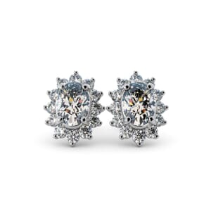 5583 - Oval Diamond Oval Stud Earrings With Diamonds
