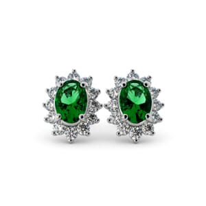 5589 - Oval Emerald Oval Stud Earrings With Diamonds
