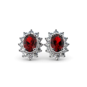 5595 - Oval Ruby Oval Stud Earrings With Diamonds