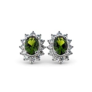 5601 - Oval Peridot Oval Stud Earrings With Diamonds
