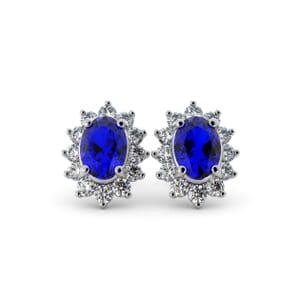 5607 - Oval Sapphire Oval Stud Earrings With Diamonds