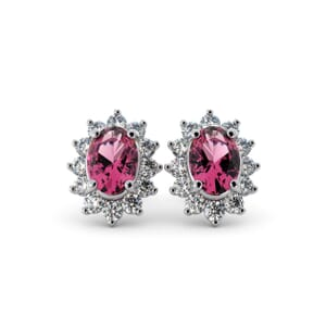 5613 - Oval Tourmaline Oval Stud Earrings With Diamonds