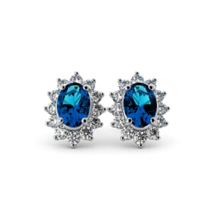 5619 - Oval BlueTopaz Oval Stud Earrings With Diamonds
