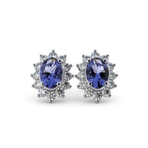 5625 - Oval Tanzanite Oval Stud Earrings With Diamonds