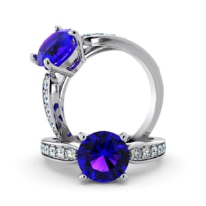 5643 - Round Amethyst Diamond Ring With Channel Set Band