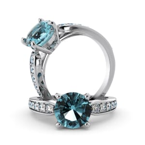 5649 - Round Aquamarine Diamond Ring With Channel Set Band