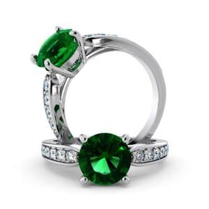 5661 - Round Emerald Diamond Ring With Channel Set Band