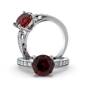 5667 - Round Ruby Diamond Ring With Channel Set Band