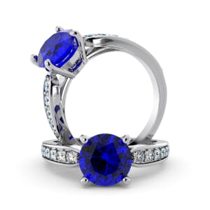 5679 - Round Sapphire Diamond Ring With Channel Set Band
