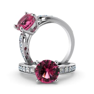 5685 - Round Tourmaline Diamond Ring With Channel Set Band
