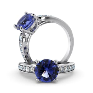 5697 - Round Tanzanite Diamond Ring With Channel Set Band