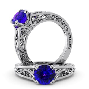 5715 - Round Amethyst Diamond Ring With Milgrain Detail