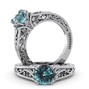 5721 - Round Aquamarine Diamond Ring With Milgrain Detail