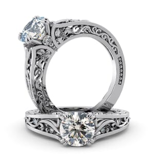 5727 - Round Diamond Diamond Ring With Milgrain Detail