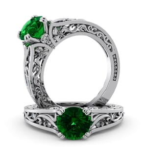 5733 - Round Emerald Diamond Ring With Milgrain Detail