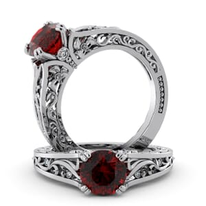 5739 - Round Ruby Diamond Ring With Milgrain Detail