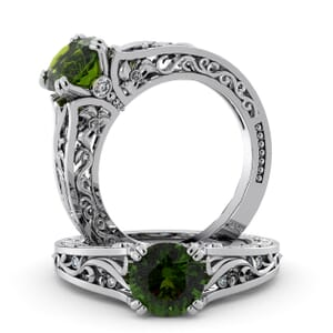 5745 - Round Peridot Diamond Ring With Milgrain Detail
