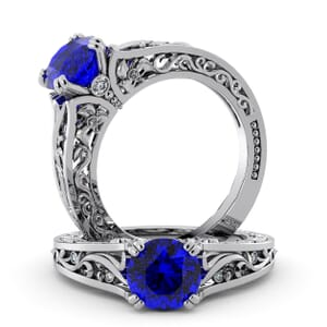5751 - Round Sapphire Diamond Ring With Milgrain Detail