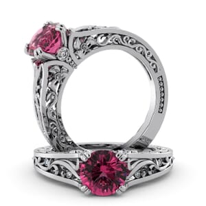 5757 - Round Tourmaline Diamond Ring With Milgrain Detail