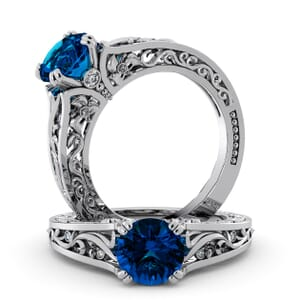 5763 - Round BlueTopaz Diamond Ring With Milgrain Detail