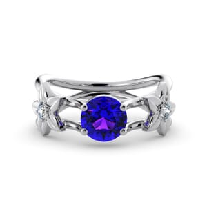 5787 - Round Amethyst Diamond Ring With Floral Detail