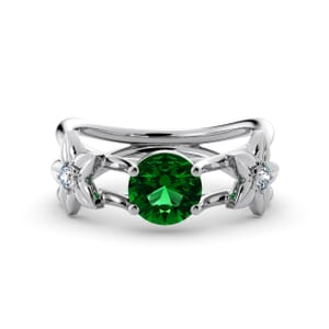5805 - Round Emerald Diamond Ring With Floral Detail
