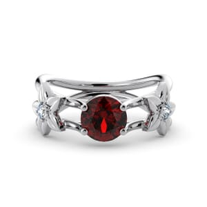 5811 - Round Ruby Diamond Ring With Floral Detail