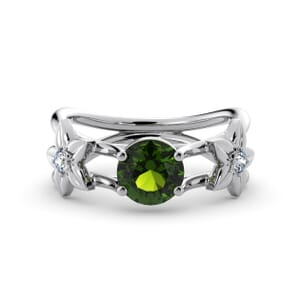 5817 - Round Peridot Diamond Ring With Floral Detail
