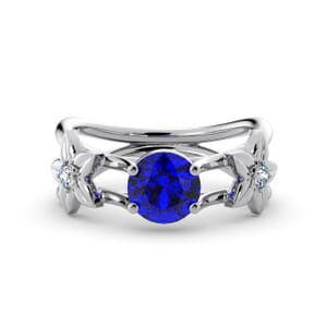 5823 - Round Sapphire Diamond Ring With Floral Detail