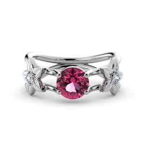 5829 - Round Tourmaline Diamond Ring With Floral Detail