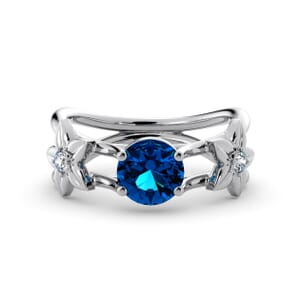 5835 - Round BlueTopaz Diamond Ring With Floral Detail