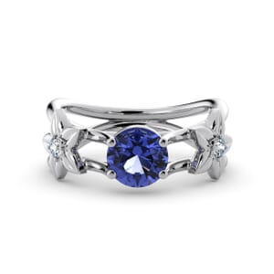 5841 - Round Tanzanite Diamond Ring With Floral Detail