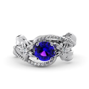 5859 - Round Amethyst Diamond Ring With Pave and Floral Detail