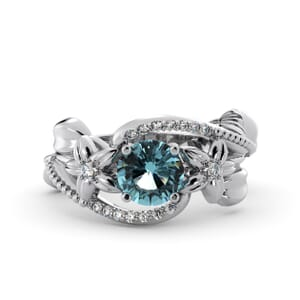 5865 - Round Aquamarine Diamond Ring With Pave and Floral Detail