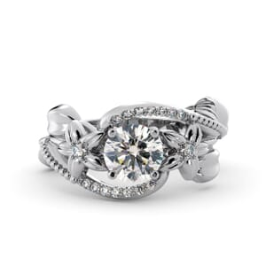 5871 - Round Diamond Diamond Ring With Pave and Floral Detail