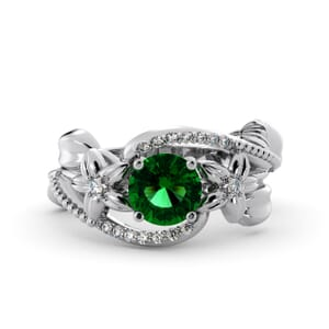 5877 - Round Emerald Diamond Ring With Pave and Floral Detail