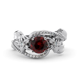 5883 - Round Ruby Diamond Ring With Pave and Floral Detail