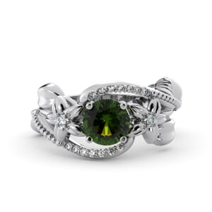 5889 - Round Peridot Diamond Ring With Pave and Floral Detail