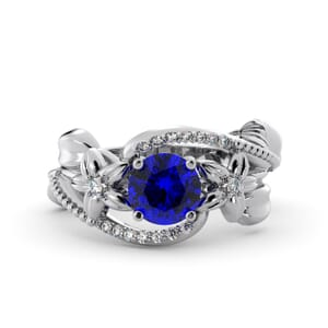 5895 - Round Sapphire Diamond Ring With Pave and Floral Detail