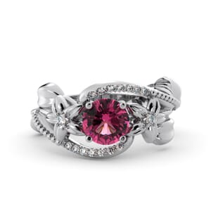 5901 - Round Tourmaline Diamond Ring With Pave and Floral Detail