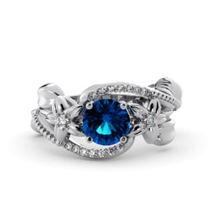 5907 - Round BlueTopaz Diamond Ring With Pave and Floral Detail