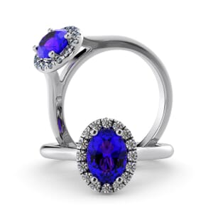 5931 - Oval Amethyst Oval Diamond Ring With Halo Setting