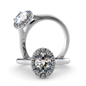 5943 - Oval Diamond Oval Diamond Ring With Halo Setting