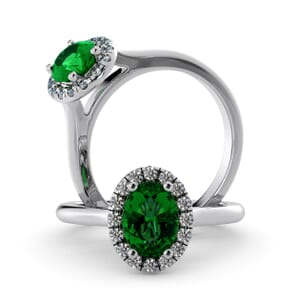5949 - Oval Emerald Oval Diamond Ring With Halo Setting
