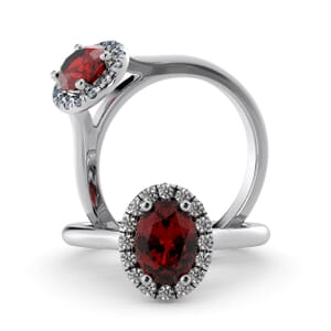 5955 - Oval Ruby Oval Diamond Ring With Halo Setting