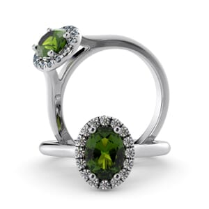 5961 - Oval Peridot Oval Diamond Ring With Halo Setting